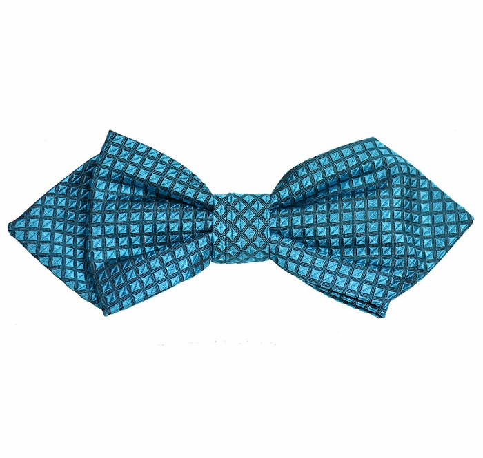 turquoise checked silk bow tie by paul malone line