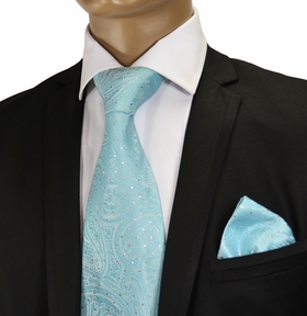 Turquoise Crystal Silk Tie by Verse 9