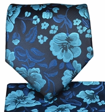 Turquoise Floral Necktie and Pocket Square Set