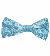 Turquoise Paisley Bow Tie . Pretied or Self-tie (BT20-R)