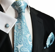 Turquoise Paisley Paul Malone Silk Necktie Set (399CH)
