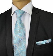 Turquoise Paisley Silk Tie and Pocket Square . Paul Malone Red Line