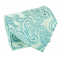 Turquoise Paisley Silk Tie by Paul Malone (399)