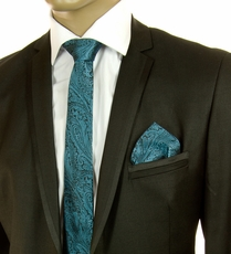 Turquoise Paisley SLIM Silk Tie Set by Paul Malone (Slim574H)