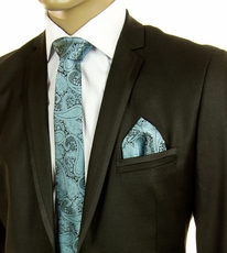 Turquoise Paisley SLIM Silk Tie Set by Paul Malone (Slim590H)