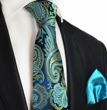 Turquoise Paul Malone 7-fold Silk Tie and Pocket Square