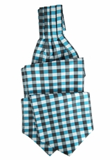 Turquoise Plaid Ascot Tie and Pocket Square