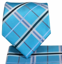 Turquoise Plaid Necktie and Pocket Square Set