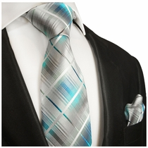 Turquoise Plaid Silk Tie Set . Paul Malone Red Line