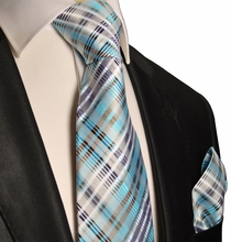 Turquoise Silk Tie and Pocket Square . Paul Malone Red Line