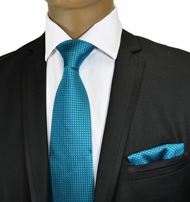 Turquoise Silk Tie and Pocket Square . Paul Malone
