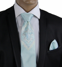 Turquoise Steven Land Silk Tie Set with Crystals (CR607)