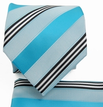 Turquoise Striped Necktie a. Pocket Square Set (Q506-O)