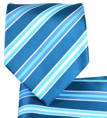 Turquoise Striped Necktie and Pocket Square