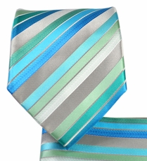 Turquoise Striped Necktie and Pocket Square Set