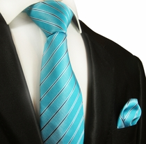 Turquoise Striped Silk Tie Set by Paul Malone