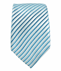 Turquoise Striped Slim Tie by Paul Malone . 100% Silk