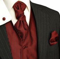 Tuxedo Vest Set by Paul Malone, Red and Black (V32)