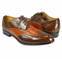 Two-tone Brogue Oxford in Chocolate and Cognac