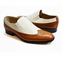 Two-tone Loafers in Cognac and White