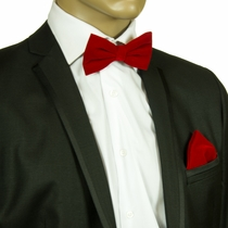 Red Velvet Bow Tie and Pocket Square Set