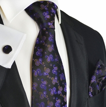 Violet and Black Paisley Silk Tie Set by Paul Malone