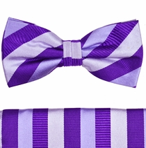 Violet and Silver Bow Tie and Pocket Square Set by Paul Malone . 100% Silk (BT243H)