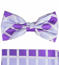 Lavender Silk Bow Tie and Pocket Square Set by Paul Malone