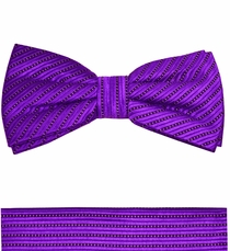 Violet Paul Malone Bow Tie and Pocket Square. 100% Silk (BT995H)