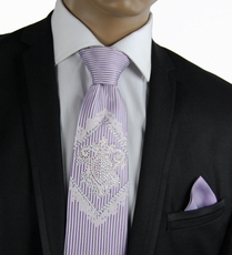 Violet Steven Land Silk Tie with Crystals, includes Pocket Square (CR600)