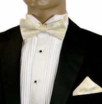 Wedding Bow Tie and Pocket Square Set . Ivory (BH539)