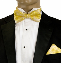 Wedding Bow Tie and Pocket Square . Yellow (BH931)