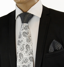 White a. Black Contrast Knot Silk Tie Set by Steven Land