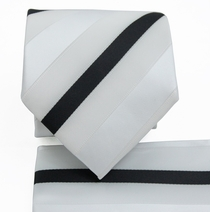 White a. Black Striped Necktie Set (Q506-U)