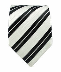 White a. Black Striped Slim Tie by Paul Malone