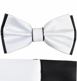 White and Black Bow Tie with 2 Pocket Squares
