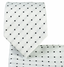 White and Black Necktie and Pocket Square Set