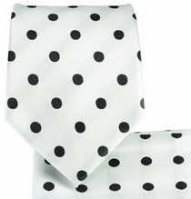 White and Black Polka Dots .  Necktie and Pocket Square