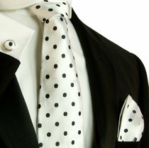 White and Black Silk Necktie Set by Paul Malone (792CH)