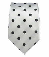 White and Black Slim Silk Tie by Paul Malone
