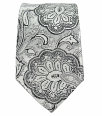 White and Charcoal Slim Silk Tie by Paul Malone