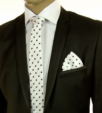 White and Black SLIM Silk Tie Set by Paul Malone (Slim792H)