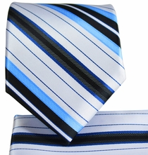 White and Blue Striped Necktie and Pocket Square