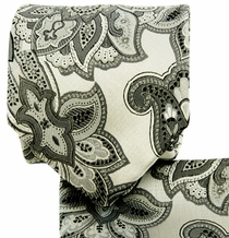 White and Gray Paisley Necktie and Pocket Square Set (Q569-S)
