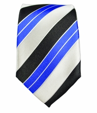 White, Black and Blue Slim Silk Tie by Paul Malone