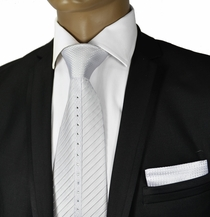 White Crystal Silk Tie a. Pocket Square by Steven Land