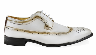 White Full Brogue Derby