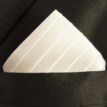 White Mens Silk Pocket Square (H691)