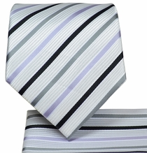 White Striped Necktie and Pocket Square Set (Q575-A)