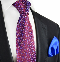 Windsor Wine and Royal Blue 7-fold Silk Tie Set by Paul Malone